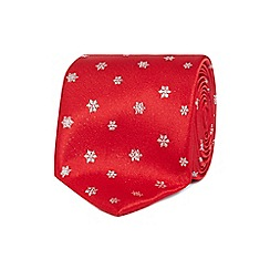 The Collection - Red snowflake tie with a tie bar