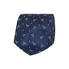 The Collection - Navy tree Christmas tie with a tie bar