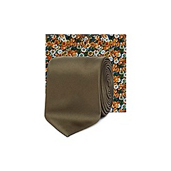 Red Herring - Olive green skinny tie and floral pocket square