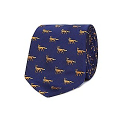 Hammond & Co. by Patrick Grant - Blue silk fox print tie