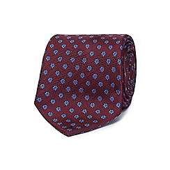 Jeff Banks - Wine red floral print silk tie