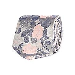 Black Tie - Silver silk floral embroidered tie