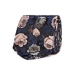 Black Tie - Blue silk floral embroidered tie