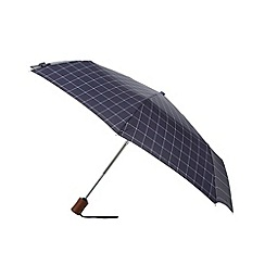 Fulton - Hoxton window check Navy pattern auto open compact umbrella