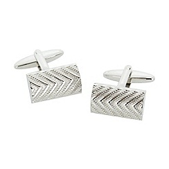 Thomas Nash - Silver herringbone textured cufflinks