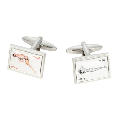 Lady playing cards cufflinks