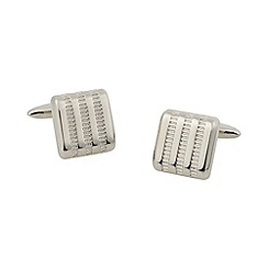 Thomas Nash - Silver textured stripe square cufflinks