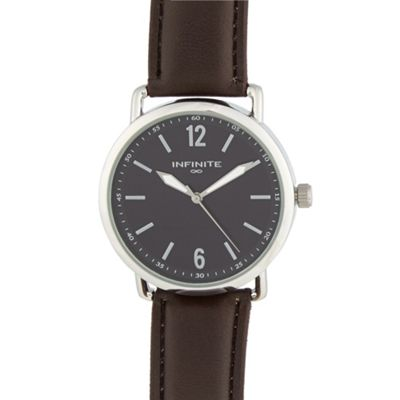 Infinite Men´s brown PU strap large case watch