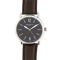 Infinite - Men's brown PU strap large case watch