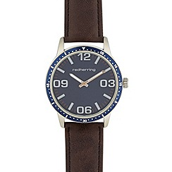 Red Herring - Men's brown PU strap mock sports bezel watch