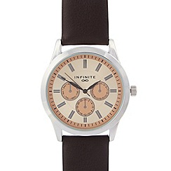 Infinite - Mens brown mock multi dial watch
