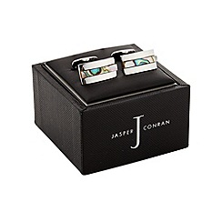 J by Jasper Conran - Silver and Abalone striped cufflinks in a gift box