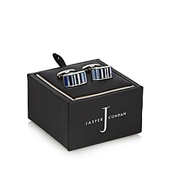 J by Jasper Conran - Blue and mother of pearl striped cufflinks in a gift box