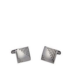 Jeff Banks - Designer gunmetal square waffle cufflinks
