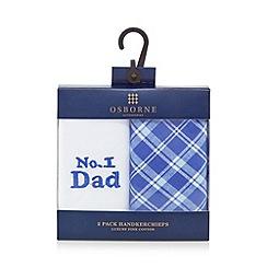 Osborne - Pack of two blue 'No.1 Dad' cotton handkerchiefs