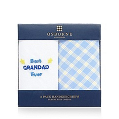 Osborne - Pack of two blue 'Best Grandad Ever' handkerchiefs