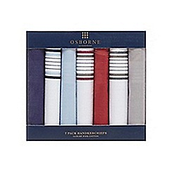 Osborne - Pack of seven plain and striped border cotton handkerchiefs