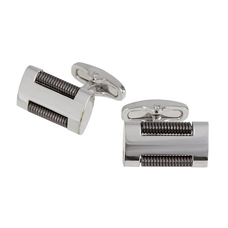 Jeff Banks - Designer grey coiled rectangle cufflinks