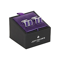 Jeff Banks - Purple rectangular cufflinks in a gift box