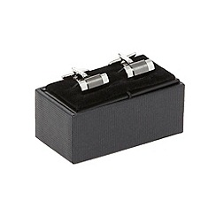 The Collection - Grey gunmetal stripe cufflinks in a gift box