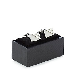 The Collection - Silver rectangle cufflinks in a gift box