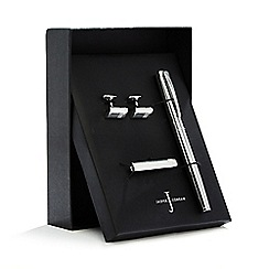 J by Jasper Conran - Silver plated grid check pen, cuff links and tie bar set