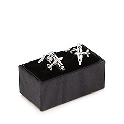 The Collection - Silver aeroplane cufflinks in a gift box