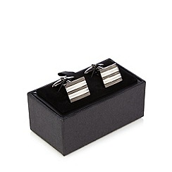 The Collection - Silver striped cufflinks in a gift box