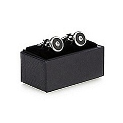 The Collection - Silver crystal circular cufflinks in a gift box