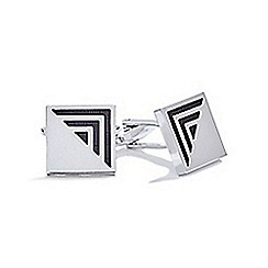 The Collection - Silver square half pyramid cufflinks