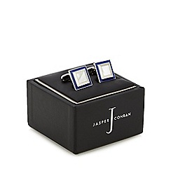 J by Jasper Conran - Designer blue border metal cufflinks