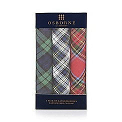 Osborne - Pack of three assorted tartan handkerchiefs
