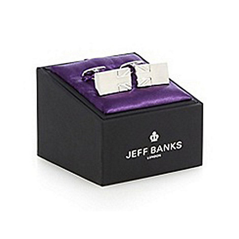 Jeff Banks - Silver engraved Union Jack cufflinks in a gift box