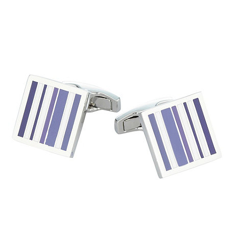 Jeff Banks - Designer silver irregular stripe cufflinks