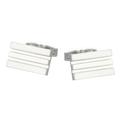 Jeff Banks Silver grooved stripe detail cufflinks