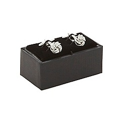 The Collection - Silver knot design cufflinks in a gift box