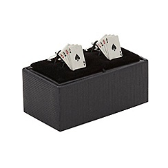 The Collection - Silver aces cufflinks in a gift box