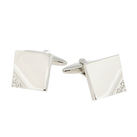 Thomas Nash - Silver diamante square cufflinks