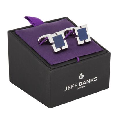 Jeff Banks Designer navy blue and silver square cufflinks