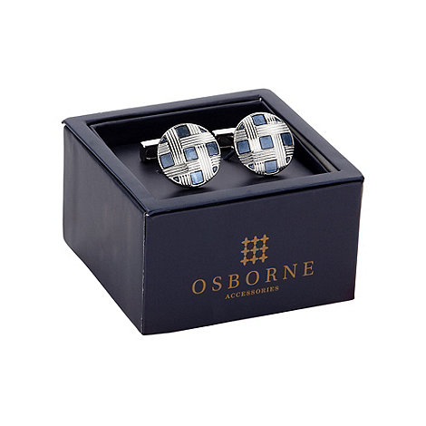 Osborne - Blue check pattered cufflinks
