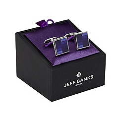 Jeff Banks - Designer blue and silver square cufflinks