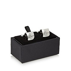 Thomas Nash - Silver 'Groom' engraved square cufflinks