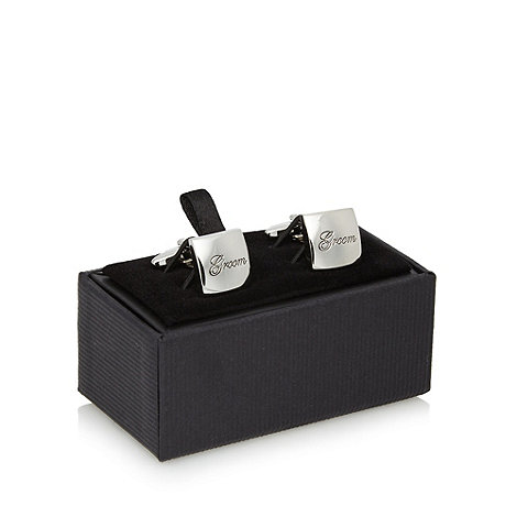Thomas Nash - Silver +Groom+ engraved square cufflinks