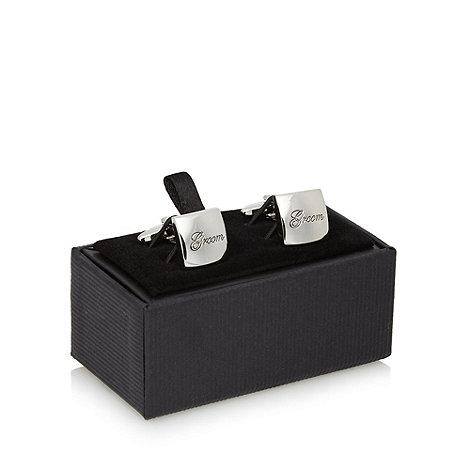 Thomas Nash - Silver +Groom+ engraved square cufflinks