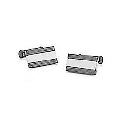 Hammond & Co. by Patrick Grant - Silver striped rectangular cufflinks