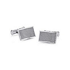 Hammond & Co. by Patrick Grant - Silver textured rectangular cufflinks