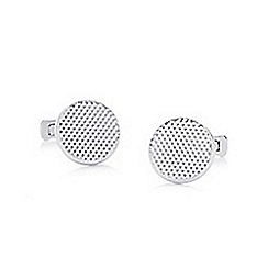 Hammond & Co. by Patrick Grant - Silver textured circular cufflinks