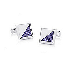 Hammond & Co. by Patrick Grant - Silver blue corner square cufflinks