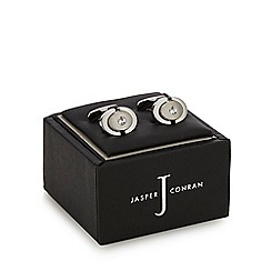 J by Jasper Conran - Silver plated circle stone embellished cufflinks