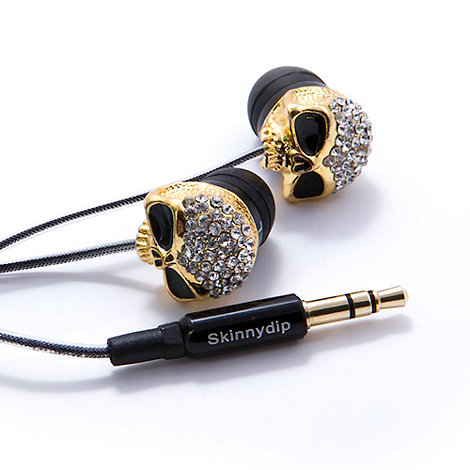 Skinnydip - Gold skull headphones